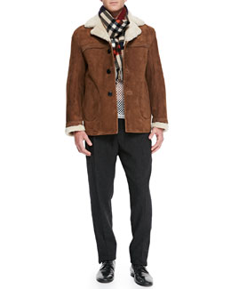 Burberry Prorsum Suede Jacket with Shearling Fur Collar, Cotton-Jersey Mesh Tank Top, Wool/Cashmere Tweed Trousers & Dark Check Cashmere Scarf