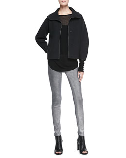 J Brand Ready to Wear Martha Leather-Trim Wool Sweater, Sophia Sheer Long-Sleeve Tee & 910 Low-Rise Skinny-Leg Jeans