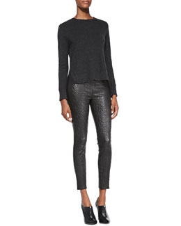 J Brand Ready to Wear Eugenia Cashmere Split-Hem Sweater & Smooth/Snake-Print Leather Leggings
