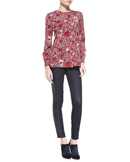 Tory Burch Meg Floral-Print Stretch-Silk Top & Harlow Leather-Side Slim Jeans