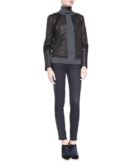 Tory Burch Micky Leather Jacket, Evangeline Turtleneck Sweater & Harlow Leather-Side Slim Jeans