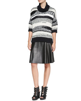 10 Crosby Derek Lam Loose Striped Knit Turtleneck Sweater & Seamed A-Line Leather Skirt