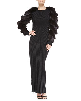 Arzu Kaprol Long-Sleeve Fur Bolero & Long-Sleeve Open-Back Metallic Knit Gown