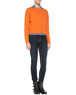 MARC by Marc Jacobs Ivy Knit Crewneck Sweater, Minaki Silk Button-Down Blouse & Ella Skinny Denim Jeans
