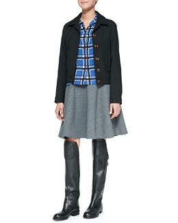 MARC by Marc Jacobs Sixties Wool-Blend Jacket, Toto Plaid Button-Down Blouse & Sixties Wool-Blend Mini Skirt