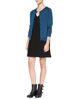 MARC by Marc Jacobs Grayson Mixed-Knit Cardigan & Yumi Drop-Skirt Crepe Dress