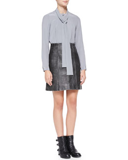 MARC by Marc Jacobs Sandwashed Crepe de Chine Tie-Neck Top & Leather A-Line Biker Skirt
