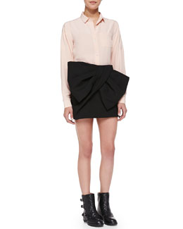 MARC by Marc Jacobs Sandwashed Crepe de Chine Blouse & Bow-Front Silk Miniskirt