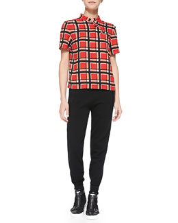 MARC by Marc Jacobs Toto Plaid Crepe Top & Jon Straight-Leg Wool Sweatpants