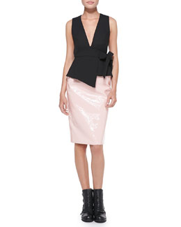 MARC by Marc Jacobs Sixties Tie-Waist Sleeveless Top & Emi Shiny Long Pencil Skirt