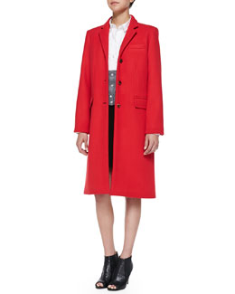 MARC by Marc Jacobs Hiro Long Felt Coat, Miki Oxford/Knit Combo Blouse & Yumi Pleated Crepe Skirt