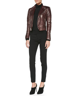 Ralph Lauren Black Label Circuit Leather Biker Jacket, Cailee Long-Sleeve Turtleneck & Farrah Stretch Wool Skinny Pants