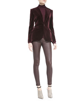 Ralph Lauren Black Label Sylvia Velvet Blazer, Cailee Turtleneck Top & Abbey Stretch Leather Pants