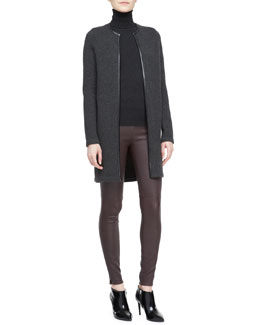 Ralph Lauren Black Label Nancy Long Cashmere Cardigan, Long-Sleeve Turtleneck & Abbey Stretch Leather Pants