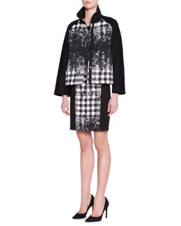 Piazza Sempione Stand-Collar Abstract Houndstooth Jacket & Long-Sleeve Dress