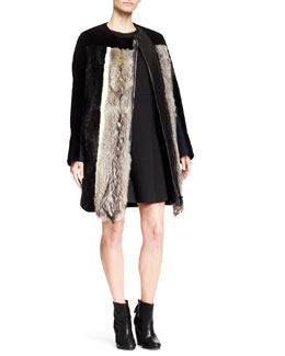O'2nd Mixed-Fur Combo Jacket and Flare-Skirt Sleeveless Scuba Dress