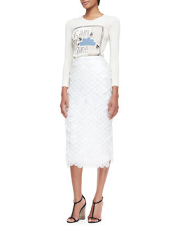 Burberry Prorsum Rain or Shine Graphic Knit Top & Oversize Sequin Pencil Skirt