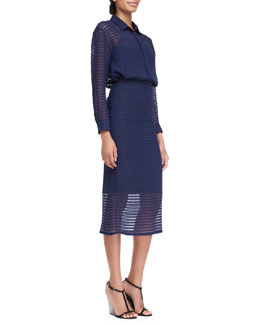 Burberry Prorsum Striped Silk Chiffon Shirt & Pencil Skirt