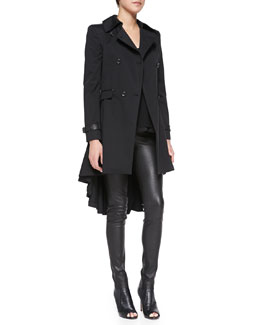 Alice + Olivia Double-Breasted High-Low Trenchcoat, Silk Loose Crinkle Tank Top & Lamb Leather Leggings