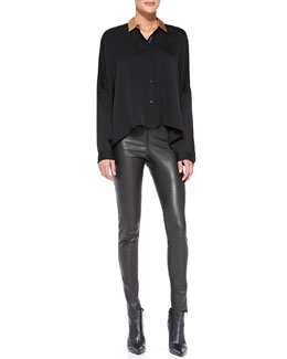 Alice + Olivia Contrast-Shoulder Stretch-Silk Blouse & Leather Leggings