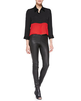 Alice + Olivia Cropped Colorblock Button-Down Blouse & Lamb Leather Leggings