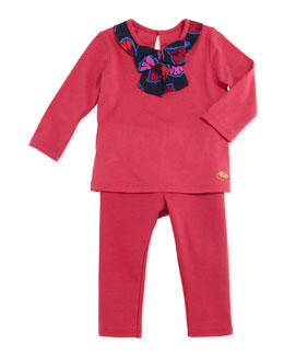 Little Marc Jacobs Jersey Bow-Neck Top & Milano Ruffle-Trim Pants