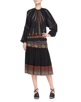 Etro Embroidered/Beaded Peasant Blouse and Skirt