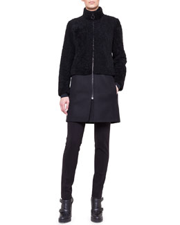 Akris punto Mixed-Media Shearling Coat, Mock-Neck Top & Stretch Jersey Skinny Pants