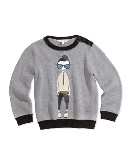 Little Marc Jacobs Cool Boy Printed Sweater, Gray