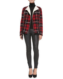 M Missoni Tartan Plaid Knit Peplum Jacket, Long-Sleeve Ribbed Turtleneck & Leather Pants with Zipper Cuffs