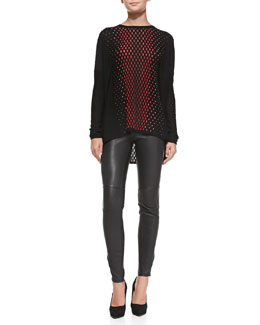 M Missoni Vertical Dash Knit Tunic & Leather Pants with Zipper Cuffs