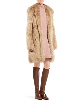 Gucci Single Breasted Alpaca Fur Jacket & Asymmetric Sleeveless Dress