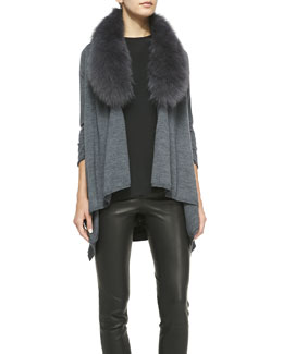 Alice + Olivia Mix & Match Izzy Open-Front Draped Sweater & Fox Fur Collar