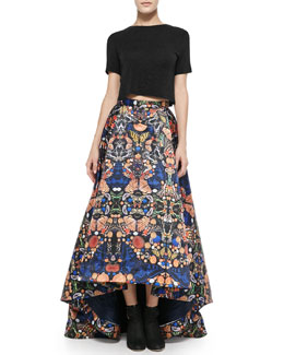 Alice + Olivia Short-Sleeve Crewneck Crop Top & Cohe Printed Asymmetric Skirt