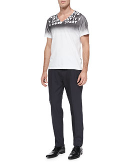 Maison Martin Margiela Gradient Printed V-Neck Tee & Pleated Wool/Mohair Trousers