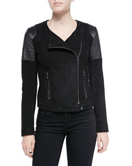 J Brand Ready to Wear Ranya Suede/Leather Moto Jacket & Nadja V-Neck Shirttail Cami Tank