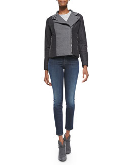 J Brand Ready to Wear Sean Felt/Tech-Fabric Jacket, Jade Slub Pocket Tee & 811 Mid-Rise Skinny Jeans