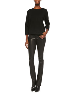 J Brand Jeans Cory Dropped-Sleeve Crewneck Sweater & Remy Lambskin High-Rise Pants