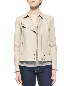 J Brand Ready to Wear Lais Leather Zipper Moto Jacket & Darby Slub-Knit Tee