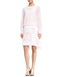Chloe Textured-Stripe Summer Sweater, Classic Tank Top & Fluo Flower Fil Coupe Skirt