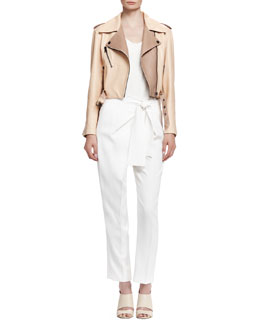 Chloe Laced-Back Leather Jacket, Classic Tank Top & Tie-Waist Cady Pants
