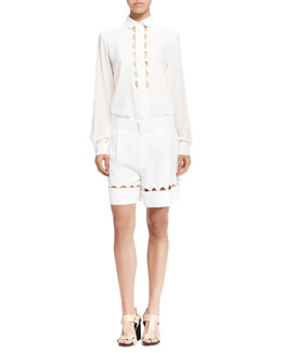 Chloe Scalloped-Cutout Button-Up Shirt and Bermuda Shorts