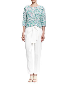 Chloe Tweed Knit Summer Sweater & Tie-Waist Cady Pants