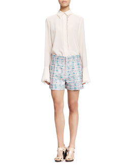 Chloe Fringe-Trim Button-Up Blouse and Pleated Tweed Shorts