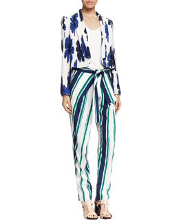 Chloe Crinkled Floral-Print Jacket, Classic Tank Top & Striped Tie-Waist Pants