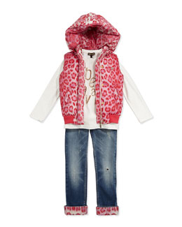Roberto Cavalli Leopard-Print Trimmed Distressed Jeans, Leopard-Print Jersey Logo Tee & Hooded Leopard-Print Puffer Vest, Sizes 7-10
