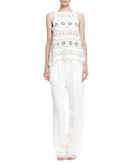 Chloe Spring Guipure Lace Top and Rustic Linen Straight-Leg Pants