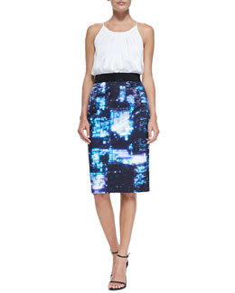 Milly Pleated Stretch-Silk Tank & Cityscape-Print Pencil Skirt