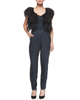 Milly Ostrich-Feather Cocktail Bolero & Strapless Twill Bustier Jumpsuit