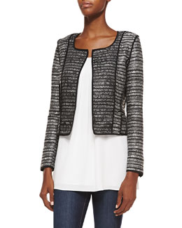Milly Cropped Open-Front Cardigan w/ Piping & Pleated Stretch-Silk Tank